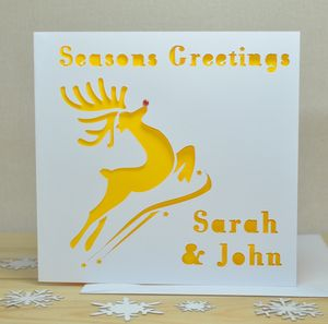Personalised Laser Cut Reindeer Card
