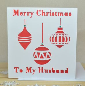 Personalised Laser Cut Bauble Christmas Card - seasonal cards
