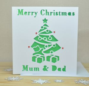 Personalised Laser Cut Christmas Tree Card - cards