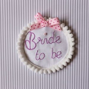 Personalised 'Bride To Be' Pom Pom Badge