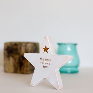 Personalised Teacher Wooden Star Keepsake - shop by price