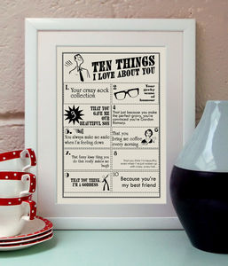 Ten Things I Love About You Print - posters & prints