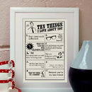 Things I Love About You, Personalised Print For Him