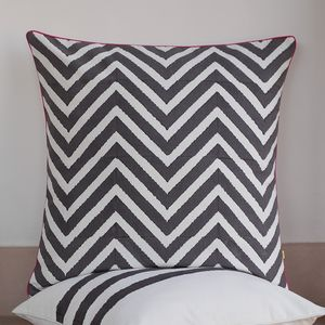 Delwara Edged Chevron Cushion Cover - bedroom