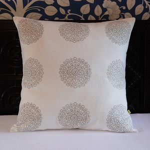 Samudra Medallion Print Cushion Cover - living room