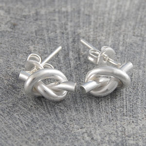 Love Knot Tiny Silver Stud Earrings - love tokens