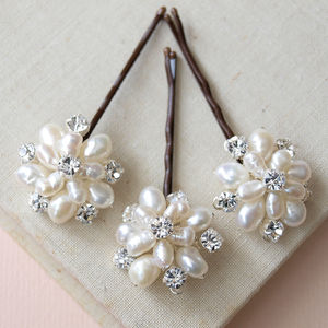 Emily Ivory Pearl And Crystal Hair Pins Set Of Three - bridal accessories