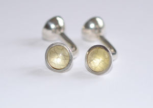 Double Domed Silver Glass Cufflinks