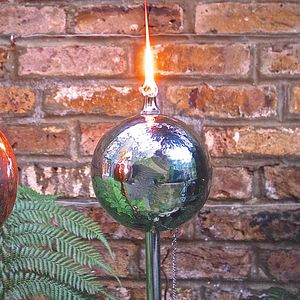 Stainless Steel Globe Garden Oil Torch - art & decorations