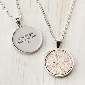 Lucky Sixpence Date Coin Necklace - women's sale
