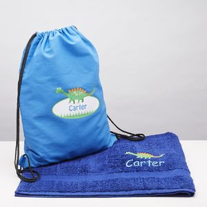 Personalised Dinosaur Swim Bag And Matching Towel - bathroom