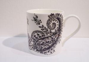 Bone China Black And White Paisley Mug