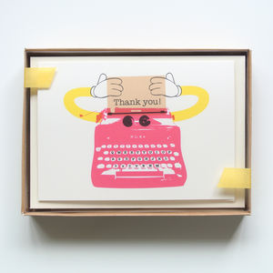 Typewriter Robot Thank You Card Set Of Eight