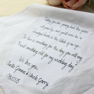 Flower Girl 'Something Old' Handkerchief - wedding favours