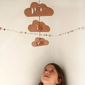 Personalised Dream Big Wooden Cloud Mobile - decorative accessories