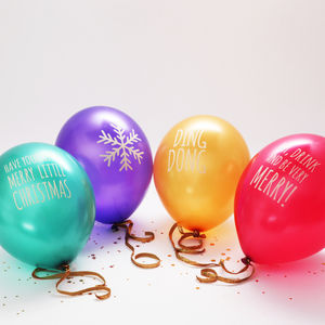 Christmas Message Colourful Party Balloons - decoration