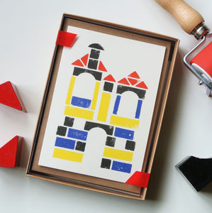 Building Blocks Stamped Ink Set Of Eight Cards