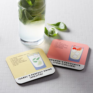 Personalised Cocktail Recipe Coaster - stocking fillers under £15