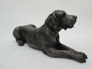 'Stanley' Lying Great Dane Bronze Resin Sculpture - sculptures
