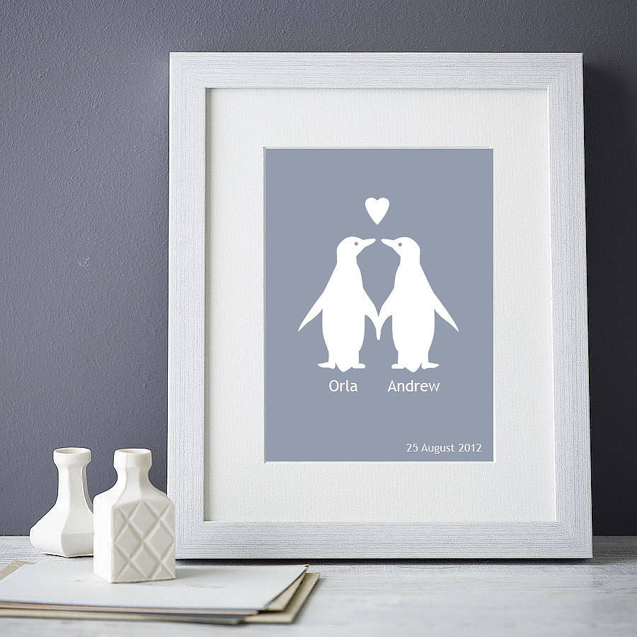 personalised penguins in love print by elephant grey ...