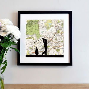 Golf Silhouette Over Personalised Map - contemporary art