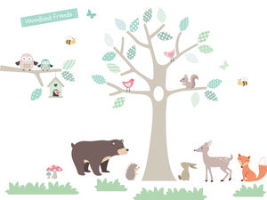 Woodland Friends Tree Wall Stickers
