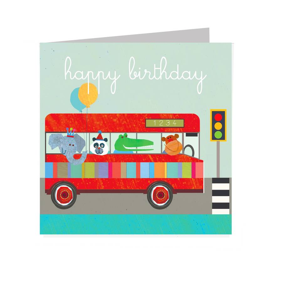 Kali Stileman Animal Bus Birthday Card