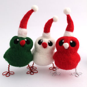 Needle Felted Mini Christmas Bird - tree decorations