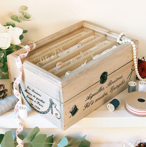 Vintage Wooden Sewing Box Haberdashery Gift - personalised