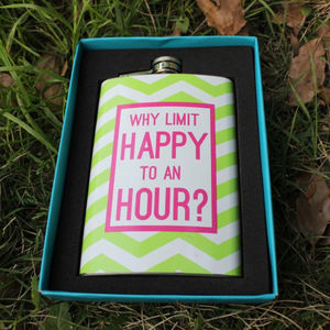 Chevron Print Hip Flask - drink & barware