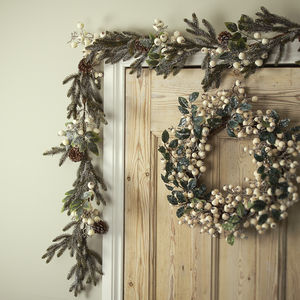 White Snow Berry Christmas Wreath Or Garland - room decorations