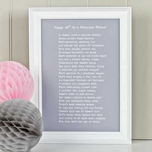 Bespoke Framed Friend Poem Print - prints & art