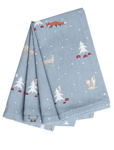 Winter Woodland Set Of Four Napkins - christmas parties & entertaining