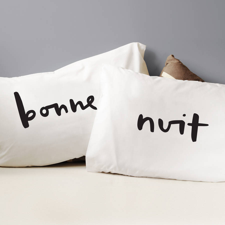 Bonne Nuit Pillow Cases By Old English Company Notonthehighstreet Com