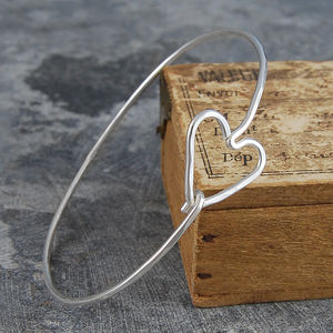 Valentines Heart Sterling Silver Bangle - gifts for her