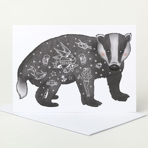 Tattoo Badger Greeting Card