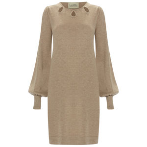 Champagne Bell Sleeved Dress By Ronit Zilkha