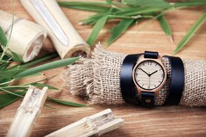 Natural Black Wrap Around Bamboo Watch - men's accessories