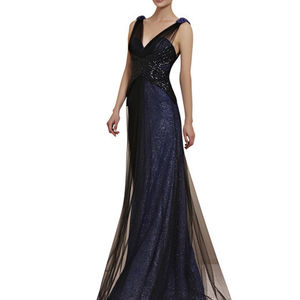 Black And Blue Sparkly Evening Dress - dresses