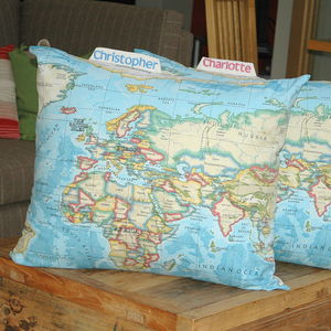 Giant Personalised World Map Cushion Blue - cushions