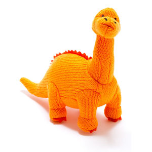 Knitted Dinosaur Rattle Diplodocus - new baby gifts