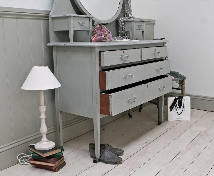 distressed large mirrored vintage dressing table by distressed but not forsaken. Black Bedroom Furniture Sets. Home Design Ideas
