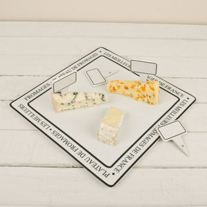 French Cheese Plate With Four Name Markers - kitchen