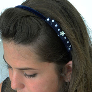 Star And Spot Navy Headband - hair accessories