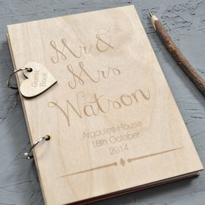 Personalised Wooden Guest Book - modern calligraphy for weddings