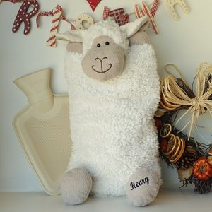 Sheep Hot Water Bottle Cover Optional Personalisation - more