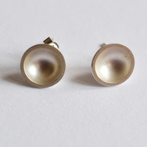 White Baked Silver Studs