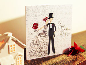 Bride And Groom Wedding Day Card With Crystal Gems