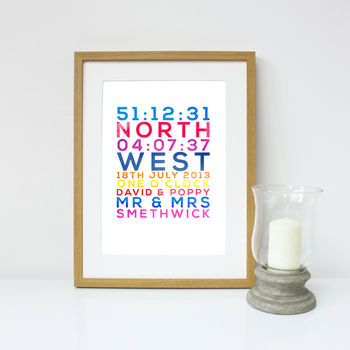Personalised Wedding Day Typographic Print