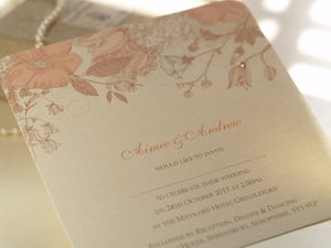 Peach Blossom Personalised Wedding Invitations - wedding stationery